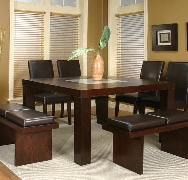 leather and wood dining room set with benches