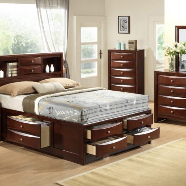 Emily Merlot Storage Bedroom Set