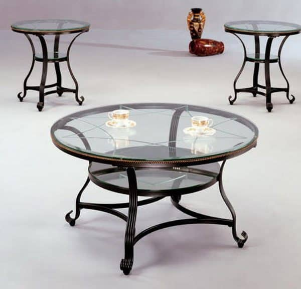 glass top table & end table set