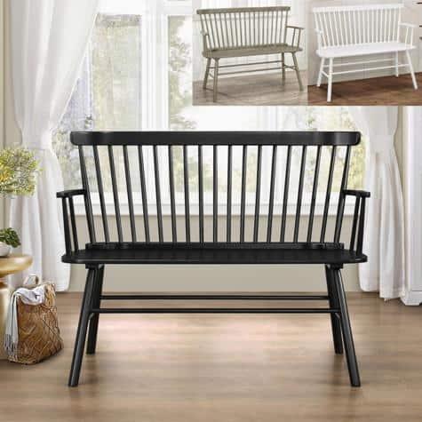 black wood bench