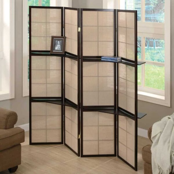 folding screen with shelves