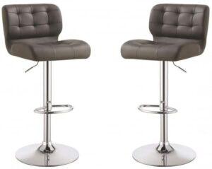 Grey Upholstered Adjustable Bar Stools