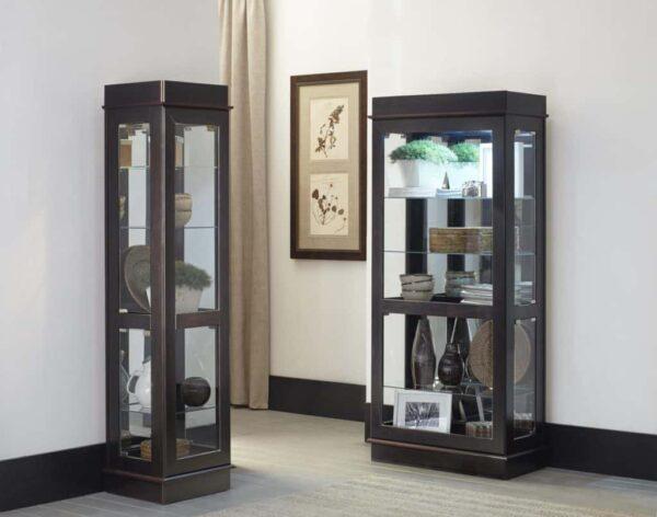 espresso curio cabinets