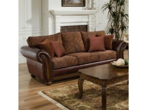 Queen Leather and Chenille Sofa Sleeper