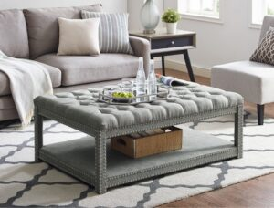 Mansfield cocktail ottoman grey glam