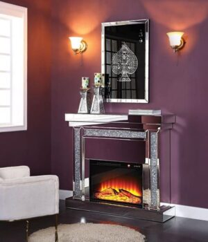 Noralie Electric Fireplace Bling Mirrored Crystal