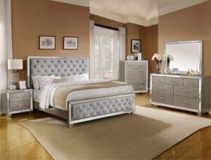 cosette bedroom set contemporary glam silver mirrored
