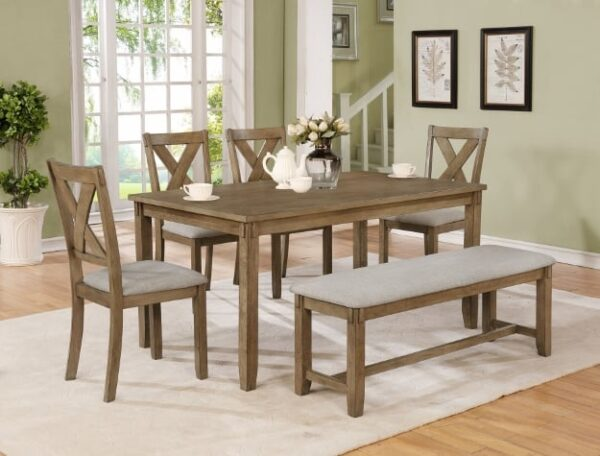 clara wheat dining set with bench farmhouse