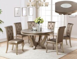 Mina Champagne Dining Set metallic